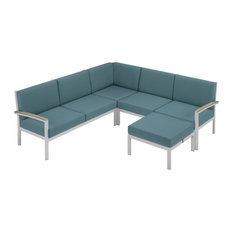 Travira 4-Piece Loveseat Set, Cushion Ice Blue, Armcap Vintage Tekwood