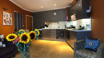 Compact one bedroom flat with bold colours