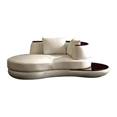 vig furniture divani casa rodus rounded leather chaise with wood trim indoor chaise chaise lounge sofa modern