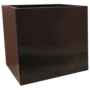Glossy Black Cube Fibreglass Planter, 60x60x60 cm
