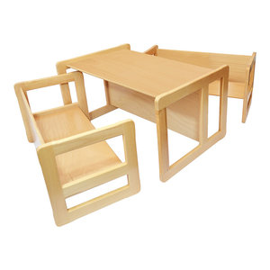 3 in 1 Kids Set of Benches and Table, Natural