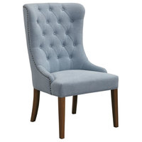 Rioni Traditional Light Slate Blue Tufted Wing Chair