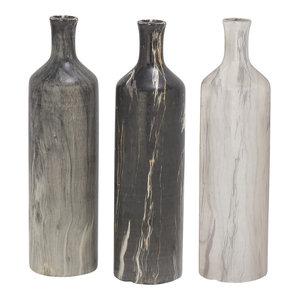 """Tall Black, White, Gray Marble Ceramic Bottle Vases, Set of 3: 3""""x13"""" Each"""