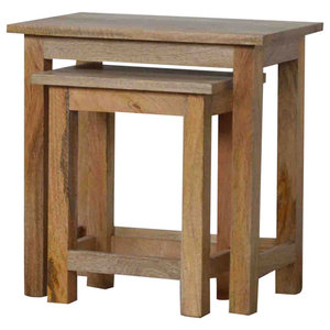 Mango Wood Nesting Stools, 2 Piece Set