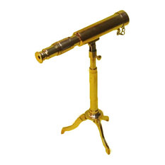 Urban Designs Reproduction Miniature Antique Replica Brass Telescope, Gold