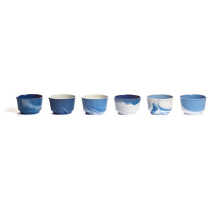 Pigments and Porcelain Coffee/Cappuccino Cups, Blue and White, Set of 6, Large