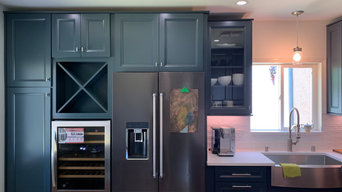 Tall Pantry Cabient, X Box Wine Cabinet, Glass Doors & Simple Moldings.
