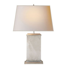 Michael S Smith Crescent 2 Light Table Lamp in Quartz On Silver Leaf