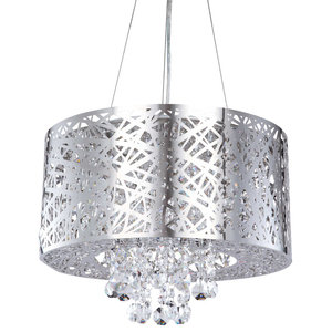 Ashley Chrome Ceiling Pendant with Glass Droplets, 6 Light