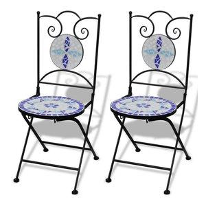 vidaXL 2x Bistro Chair Mosaic Blue White Outdoor Garden Patio Cafe Furniture