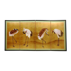 36 in. Tall Gold Leaf Cranes Hand-Painted Wall Art