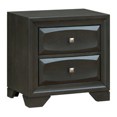 Transitional Solid Wood Night Stand With Silver-Tone Knob Drawers Antique Gray