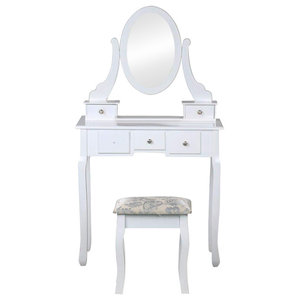 Modern Dressing Table Set, MDF With Oval Mirror and Stool, Storage Drawers
