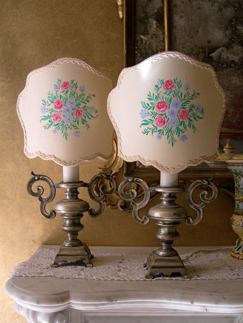Pair Of Italian Antique Solid Silver Metal Portapalme Table Lamps   Hand  Painted   Table
