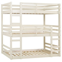 Solid Wood Triple Bunk Bed - White