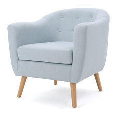 GDFStudio - Miller Comfort Design Fabric Metropolitan Club Chair, Light Sky  - Armchairs and Accent