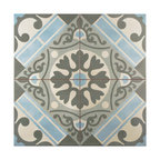 """SomerTile 17.63""""x17.63"""" Evasion Ceramic Floor and Wall Tile, Azul"""