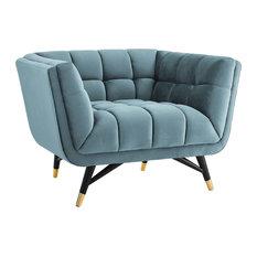 Adept Upholstered Velvet Armchair, Sea Blue