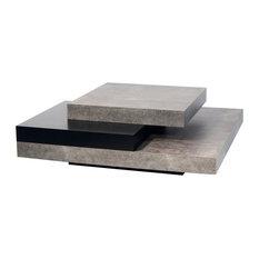 Slate Coffee Table, Faux Concrete/Pure Black