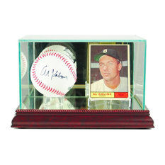 Card and Baseball Display Case, Cherry