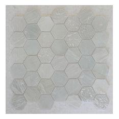 "White Beach Glass Recycled Hexagon Mosaic Tile, 12""x12"""