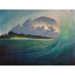 "Tropical Seascape Beach Painting, breaking waves, original fine art painting - ""In the Curl is an original, one-of-a-kind 36""x48"" acrylic tropical seascape painting on gallery wrap canvas. As a longtime surfer and ocean lover, I often had the uniquely exhilarating perspective of looking through the curl of a breaking wave. This seascape painting portrays just such a view. It captures the power of the translucent blue/green wave and the beauty of the island beach seen through the tube. It is painted around the edges to create a continuation of the image on all sides. It is signed by me, the artist, and ready to hang as the perfect tropical focal point of your room."