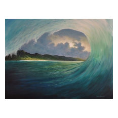 Tropical Seascape Beach Painting, breaking waves, original fine art painting