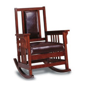 Wood Rocker Chair With Leather Padded Seat and Back, Dark Oak