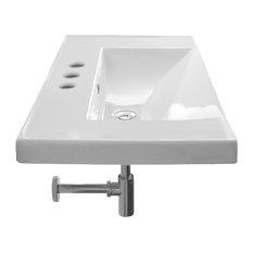 Rectangular White Ceramic Self Rimming or Wall Mounted Bathroom Sink, 3-Hole
