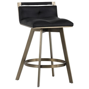 Leather Swivel Stool, Black, Counter Stool 26""