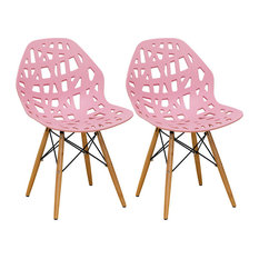 Mod Made Stencil Cut Out Eiffel Dining Side Chair Set Of 2 Pink