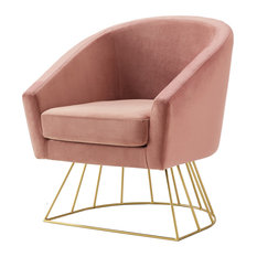 Alice Velvet Barrel Accent Chair With Metal Base Blush/Gold