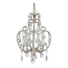 Tiffany 4-Light Crystal Beaded Wrought Iron Chandelier, Silver