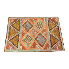 Mogulinterior - Indian Brown Beads Decorative Tapestry Old Sari Patchwork Wall Decor - Tapestries