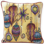 "DaDa Bedding Collection - Colorful Elegant Ornaments Throw Pillow Cover Tapestry Cushion Cases 16"" x 16"", - Accent your dining table with beautiful and colorful holiday ornaments on our one of a kind DaDa Bedding throw pillow cover."