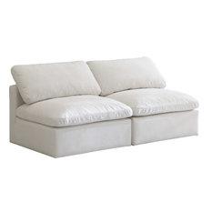 Plush Velvet Down Fill Overstuffed Cloud Modular 70-inch Sofa Cream Armless