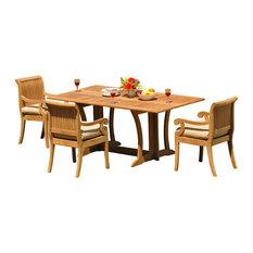 "4-Piece Outdoor Teak Set, 69"" Warwick Table, 3 Giva Chairs, Sunbrella Cushion"