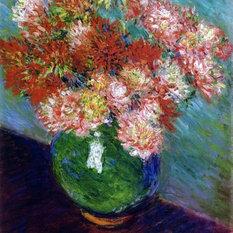 Superb Claude Oscar Monet Vase Of Chrysanthemums   16