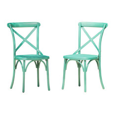 Ernie Outdoor Plastic Nylon Dining Chairs, Magnolia Green, Set of 2