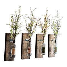 smokestack studios wine bottle wall vases set of 4 dark walnut vases - Industrial Decor