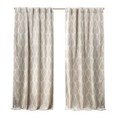 Nicole Miller Circuit Hidden Tab Top Curtain Panel Pair, Linen, 52x96