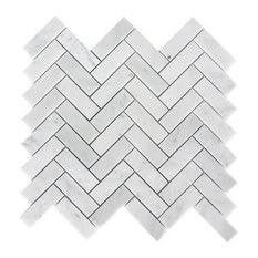 Carrara Herringbone Pattern Honed Tile, White, Sample