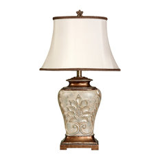 StyleCraft Home Collection - Magonia Table Lamp, Antique White With Gold Accents, White Fabric Shade - Table Lamps