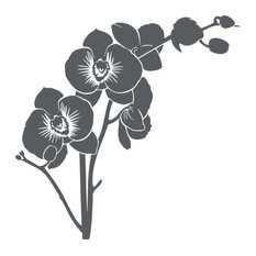 """Orchid Wall Decal, Dark Gray, 47""""x47"""""""