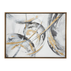 Metallic Contemporary Abstract Art Painting In Metallic Gold Wood Frame