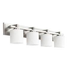 4-Light Cylinder Vanity Fixture, Satin Nickel