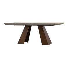 79-inchL Ira Dining Table Concrete Slab Top With Acrylic Seal Rust Iron Base