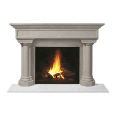 Fireplace Stone Mantel 1111.555 With Filler Panels, Limestone, No Hearth Pad