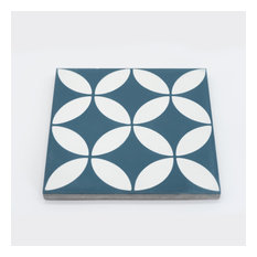 "8""x8"" Amlo Handmade Cement Tile, Navy Blue/White, Set of 12"