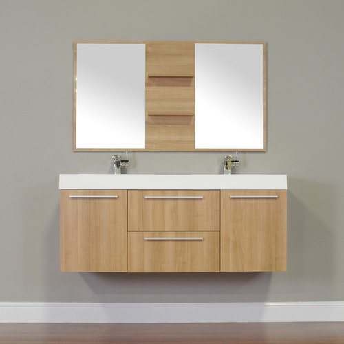 Alya Bath At 8047 Lo 54 Double Modern Bathroom Vanity Light Oak